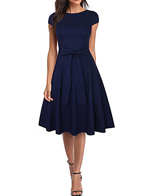 cheap Cocktail Dresses-A-Line Minimalist Elegant Cocktail Party Homecoming Dress Boat Neck Short Sleeve Knee Length Nylon with Bow(s) 2020