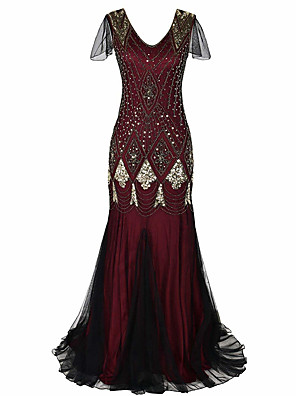 cheap Prom Dresses-Mermaid / Trumpet Roaring 20s Red Party Wear Formal Evening Dress V Neck Short Sleeve Sweep / Brush Train Sequined Polyester with Crystals Beading Sequin 2020 / Illusion Sleeve