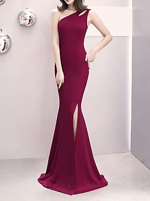 cheap Evening Dresses-Mermaid / Trumpet Elegant & Luxurious Elegant Formal Evening Dress One Shoulder Sleeveless Sweep / Brush Train Satin with Split Front 2020