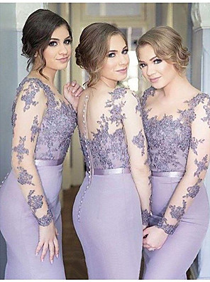 cheap Bridesmaid Dresses-Mermaid / Trumpet Jewel Neck Floor Length Chiffon Bridesmaid Dress with Sash / Ribbon / Buttons / Bell Sleeve