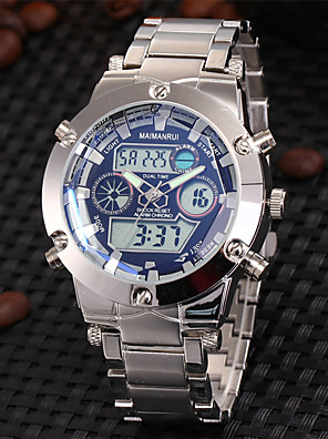 cheap Sport Watches-Men's Wrist Watch Luxury Water Resistant / Waterproof Stainless Steel Silver Analog - Digital - White Blue Two Years Battery Life / Japanese / Alarm / Calendar / date / day / Chronograph / LCD