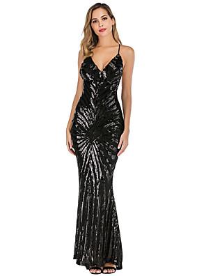 cheap Mini Dresses-Diva Disco 1980s Dress Women's Sequins Costume Black / Beige Vintage Cosplay Prom Sleeveless Floor Length Mermaid / Trumpet