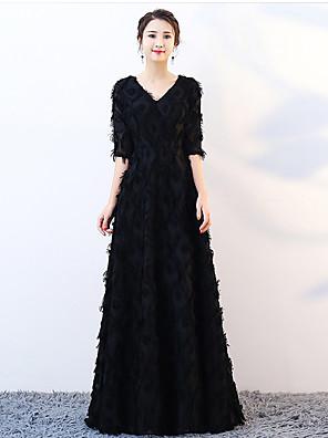 cheap Bridesmaid Dresses-A-Line Elegant Sparkle & Shine Formal Evening Dress V Neck Half Sleeve Floor Length Lace with Feathers / Fur 2020