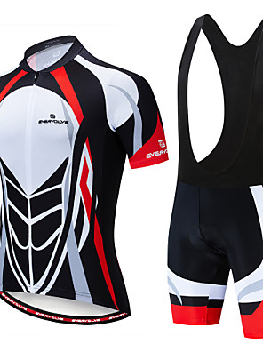 cheap Men's Cycling Jersey & Shorts / Pants Sets-EVERVOLVE Men's Short Sleeve Cycling Jersey with Bib Shorts Summer Lycra White Yellow Black Bike Clothing Suit Anatomic Design Quick Dry Moisture Wicking Breathable Back Pocket Sports Patterned