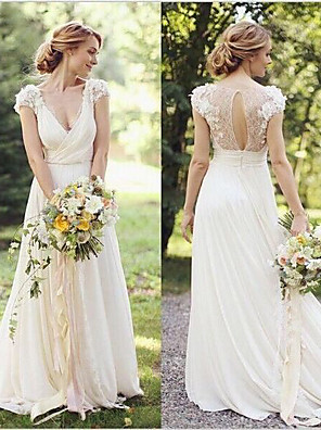 cheap Wedding Dresses-A-Line Wedding Dresses V Neck Sweep / Brush Train Lace Cap Sleeve Country Romantic Illusion Detail Backless with Appliques 2020