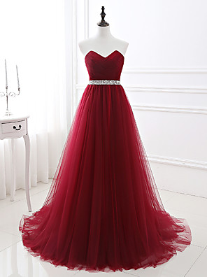 cheap Evening Dresses-A-Line Elegant Red Quinceanera Prom Dress Strapless Sleeveless Chapel Train Satin Tulle with Crystals 2020