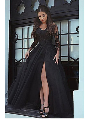 cheap Prom Dresses-A-Line Elegant Formal Evening Dress Plunging Neck Long Sleeve Floor Length Chiffon with Appliques Split Front 2020