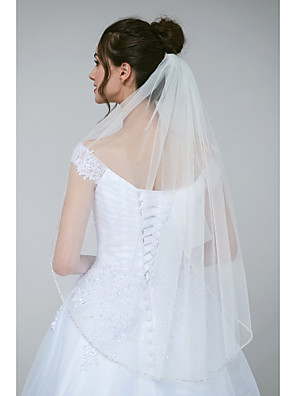cheap Wedding Veils-One-tier Glamorous & Dramatic / Sweet Wedding Veil Elbow Veils with Beading / Crystals / Rhinestones Tulle / Classic