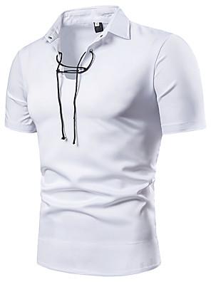 baratos Pólos Masculinas-Homens Polo Sólido Com Cordão Blusas Básico Havaiana Branco Preto / Manga Curta