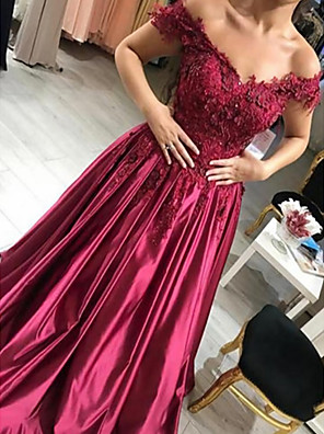 cheap Evening Dresses-A-Line Floral Luxurious Prom Formal Evening Dress Off Shoulder Short Sleeve Floor Length Satin with Beading Appliques 2020