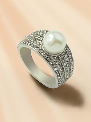 cheap Quartz Watches-Women's Ring 1pc Silver Pearl Rhinestone Alloy Stylish Korean Fashion Gift Daily Jewelry Geometrical Cool Lovely
