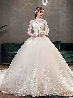 cheap Wedding Dresses-Ball Gown Wedding Dresses High Neck Chapel Train Tulle Half Sleeve Simple Illusion Sleeve with Appliques 2020