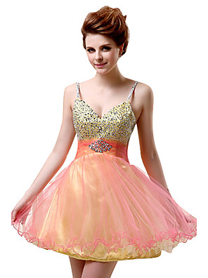 cheap Evening Dresses-A-Line Cute Cocktail Party Dress Spaghetti Strap Sleeveless Short / Mini Tulle with Beading Sequin 2020