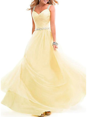 cheap Prom Dresses-A-Line Empire Yellow Prom Formal Evening Dress Spaghetti Strap Sleeveless Floor Length Chiffon with Crystals 2020