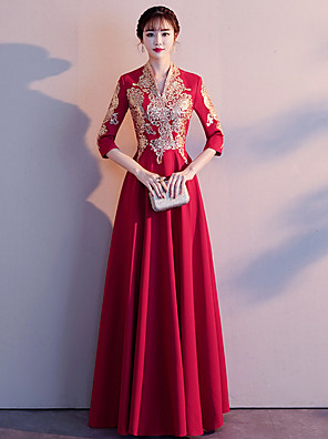 cheap Party Dresses-A-Line Vintage Red Engagement Formal Evening Dress V Neck 3/4 Length Sleeve Floor Length Charmeuse with Appliques 2020