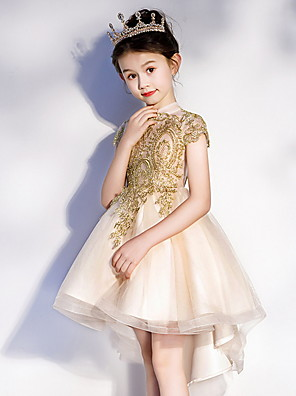 cheap Flower Girl Dresses-A-Line Asymmetrical Pageant Flower Girl Dresses - Polyester Short Sleeve Jewel Neck with Appliques