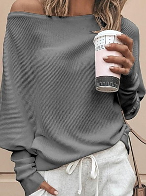 cheap Women's Sweaters-Women's Solid Colored Long Sleeve Loose Pullover Sweater Jumper, Off Shoulder Red / Khaki / White S / M / L