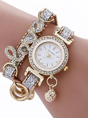 cheap Quartz Watches-fashion women girls metal case leather rhinestone bracelet quartz elegant wrist watch