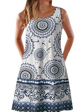 abordables Vestidos de Mujer-Mujer Morado Caqui Vestido Camisa Geométrico Con Tirantes Estampado S M