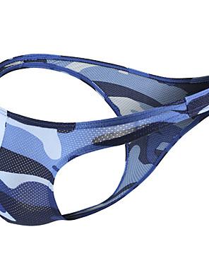 cheap Men's Exotic Underwear-Men's Mesh / Basic Briefs Underwear - Normal Low Waist Blue Green Gray S M L