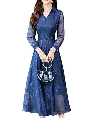 cheap Romantic Lace Dresses-Women's Swing Dress - Long Sleeve Floral Shirt Collar Black Blushing Pink Navy Blue M L XL XXL XXXL