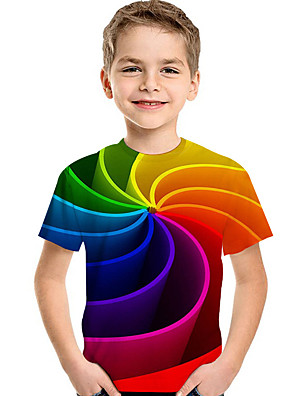 cheap Boys' Tops-Kids Toddler Boys' Active Basic Geometric Print Color Block Print Short Sleeve Tee Rainbow
