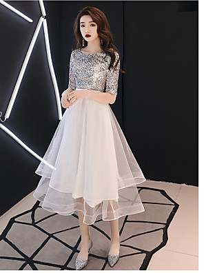 cheap Cocktail Dresses-A-Line Sparkle White Cocktail Party Prom Dress Jewel Neck Half Sleeve Tea Length Satin Tulle Sequined with Sequin Tier 2020