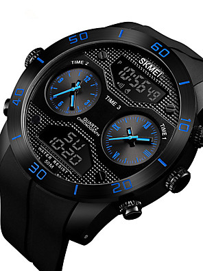 cheap Smart Watches-Men's Digital Watch Digital Sporty Outdoor Water Resistant / Waterproof Rubber Black Analog - Digital - Black Red Blue Two Years Battery Life / Calendar / date / day / Noctilucent / Large Dial