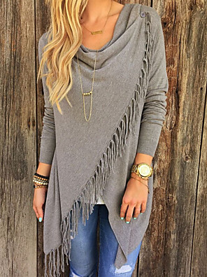 cheap Women's Sweaters-Women's Solid Colored Long Sleeve Pullover Sweater Jumper, V Neck White / Red / Light gray S / M / L
