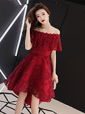 cheap Cocktail Dresses-A-Line Sexy Red Homecoming Cocktail Party Dress Off Shoulder Short Sleeve Asymmetrical Lace with Beading Ruffles Appliques 2020