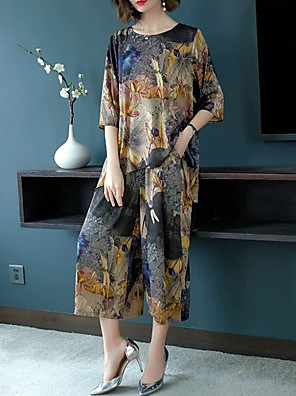 cheap Print Dresses-Women's Boho Sophisticated Long Set - Floral Geometric Rainbow, Print Pant