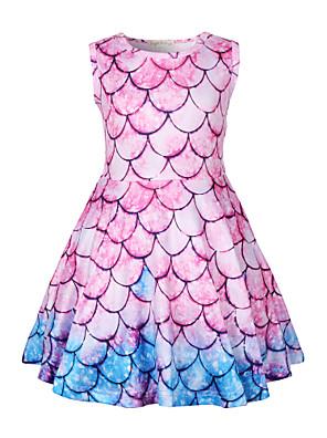 cheap Girls' Dresses-Kids Toddler Girls' Active Street chic Mermaid Tail Color Block Sleeveless Above Knee Dress Blushing Pink