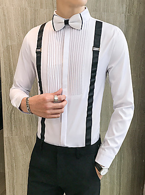 cheap Shirts-Men's Solid Colored Print Shirt Basic Casual / Daily Wine / White / Black
