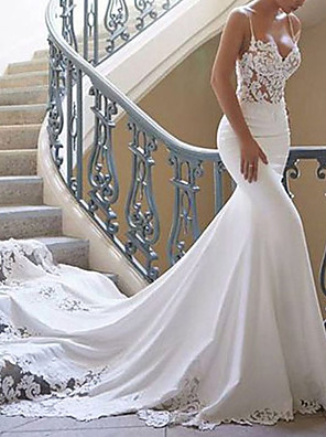cheap Evening Dresses-Mermaid / Trumpet Wedding Dresses Sweetheart Neckline Court Train Lace Stretch Satin Spaghetti Strap Sexy with Lace Appliques 2020