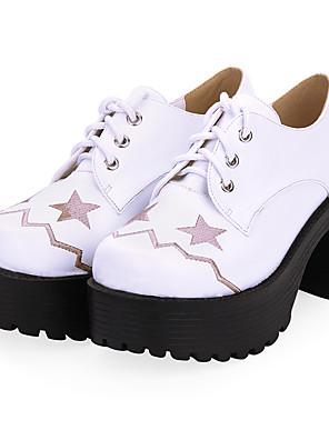 cheap Evening Dresses-Women's Lolita Shoes Punk Wedge Heel Shoes Color Block 8 cm Black White PU Leather / Polyurethane Leather Halloween Costumes