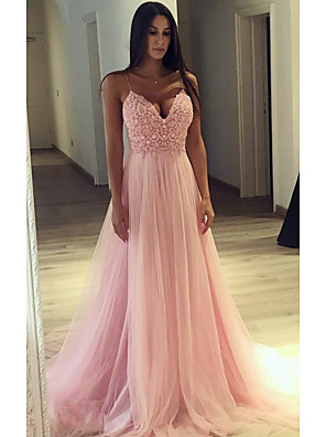 cheap Wedding Dresses-A-Line Cute Formal Evening Dress Spaghetti Strap Sleeveless Court Train Tulle with Beading Appliques 2020