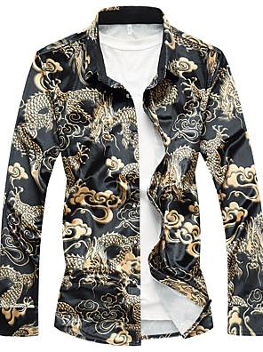 cheap Shirts-Men's Animal Shirt Chinoiserie Casual Black / Blue