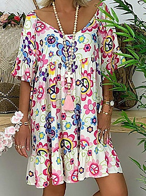 cheap Women's T-shirts-Women's Tunic Knee Length Dress - Short Sleeve Floral Print Summer Basic Vacation White Blue Red Light Blue M L XL XXL XXXL XXXXL XXXXXL