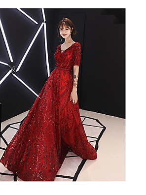 cheap Evening Dresses-A-Line Sparkle Red Engagement Formal Evening Dress V Neck Half Sleeve Floor Length Satin Sequined with Beading Sequin 2020