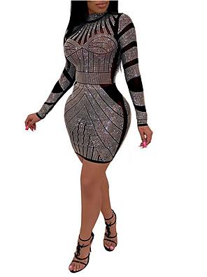 cheap Mini Dresses-Women's Mini Sheath Dress - Long Sleeve Color Block Sequins Crew Neck Slim Black S M L XL