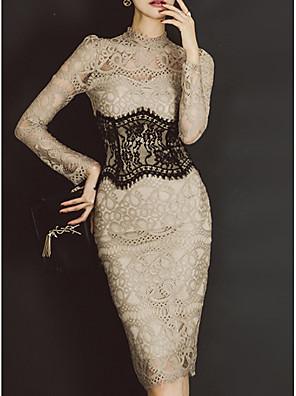 cheap Romantic Lace Dresses-Women's Basic Slim Bodycon Dress - Solid Colored Lace Crew Neck Khaki S M L XL