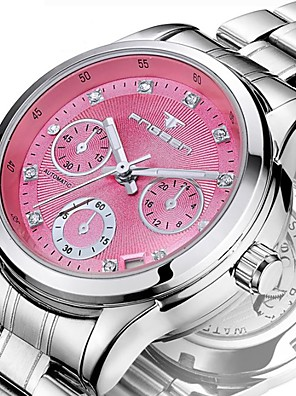 cheap Quartz Watches-Women's Mechanical Watch Automatic self-winding Formal Style Luxury Water Resistant / Waterproof Stainless Steel Silver Analog - White Yellow Blushing Pink / Calendar / date / day