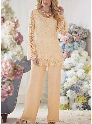 cheap Mother of the Bride Dresses-Two Piece Pantsuit / Jumpsuit Mother of the Bride Dress Plus Size Scoop Neck Ankle Length Chiffon Lace Long Sleeve with Lace 2020