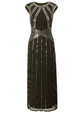 cheap Evening Dresses-Sheath / Column Elegant Vintage Inspired Formal Evening Dress Jewel Neck Short Sleeve Floor Length Polyester with Beading Sequin 2020