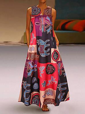 cheap Summer Dresses-Women's Plus Size Shift Dress Maxi long Dress - Sleeveless Geometric Print Summer V Neck Casual Holiday Vacation Loose 2020 Red Orange S M L XL XXL XXXL XXXXL XXXXXL