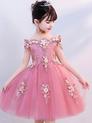 cheap Wedding Dresses-Princess Knee Length Party / Pageant Flower Girl Dresses - Polyester / Tulle Short Sleeve Off Shoulder with Appliques
