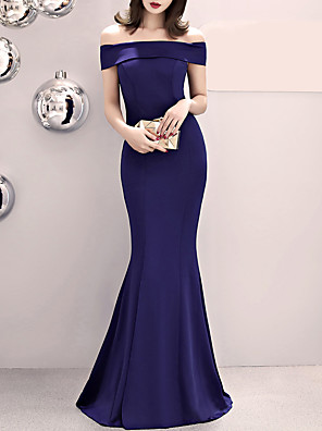cheap Evening Dresses-Mermaid / Trumpet Sexy Blue Wedding Guest Formal Evening Dress Off Shoulder Short Sleeve Sweep / Brush Train Satin with Split Front 2020