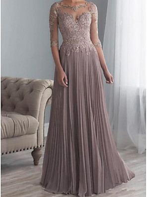 cheap Evening Dresses-A-Line Mother of the Bride Dress Elegant Plus Size See Through Bateau Neck Sweep / Brush Train Chiffon Lace Half Sleeve with Sash / Ribbon Appliques 2020