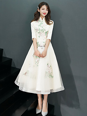 cheap Prom Dresses-A-Line Vintage White Engagement Cocktail Party Dress High Neck Half Sleeve Tea Length Tulle with Appliques 2020