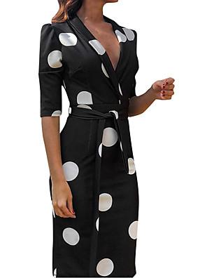 cheap Print Dresses-Women's Elegant Sheath Dress - Polka Dot Print Deep V Shirt Collar Black S M L XL